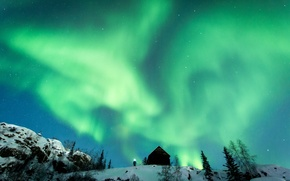 Картинка light, winter, snow, man, northern lights, hut, aurora borealis