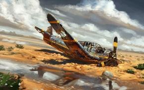 Картинка авиация, самолет, пустыня, арт, by real sonkes, crash