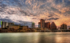 Обои облака, Austin, река, Sunset, закат