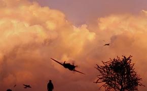 Обои небо, свет, самолет, скорость