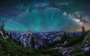 Картинка небо, звезды, горы, ночь, свечение, Калифорния, США, Йосемити, национальный парк