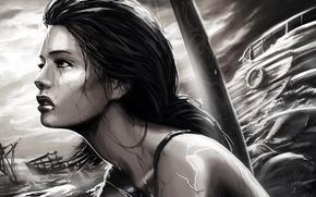 Картинка море, девушка, дождь, игра, черно-белая, корабли, Tomb Raider, лара крофт, Lara Croft, лицо. профиль