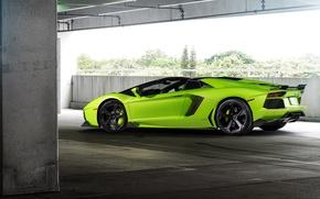 Картинка зеленый, суперкар, lamborghini, coupe, roadster, aventador, ламборгини, авентадор, lp-700-4, 2015