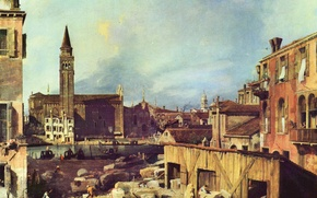 Картинка здания, венеция, италия, антонио каналь, антонио каналетто, двор в мастерской каменотёса