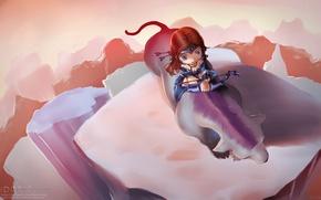 Картинка скала, лучница, арт, зверь, chibi, Dota 2, Mirana, Princess of the Moon