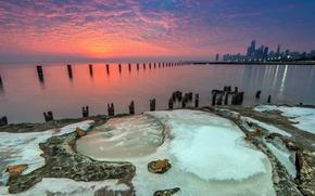 Картинка ice, Chicago, Beach, water, sunrise, Lake, Michigan, Fullerton