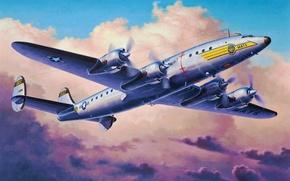 Картинка art, airplane, painting, aviation, Lockheed C-121C Constellation
