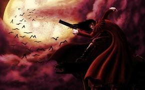 Картинка тучи, луна, аниме, демон, вампир, летучие мыши, hellsing, alucard, алукард, хеллсинг