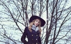 Картинка взгляд, девушка, лицо, стиль, волосы, шляпа, пальто