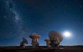 Обои небо, звезды, Луна, Млечный путь, радиотелескоп