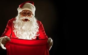 Картинка свет, праздник, новый год, дед мороз, мешок
