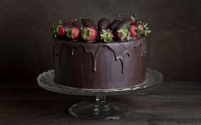 Картинка еда, шоколад, клубника, торт