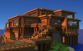 Картинка house, sky, water, minecraft