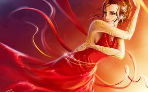 Обои девушка, ленты, красное, узор, рисунок, танец, платье