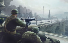 Картинка мост, город, война, солдаты, пулемет, Company of Heroes