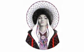 Картинка девушка, сетка, шапка, живопись, ловец снов, dreamcatcher