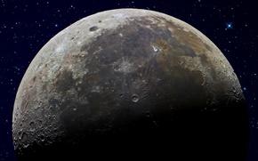 Картинка небо, звезды, Луна