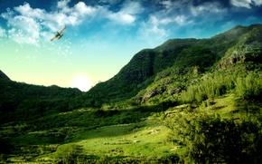 Картинка небо, горы, кукурузник