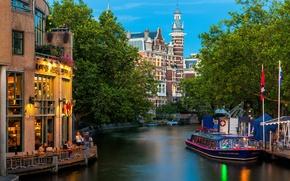 Обои деревья, природа, город, река, люди, здания, Амстердам, канал, кафе, трамвай, Нидерланды, архитектура, Amsterdam, Nederland, речной