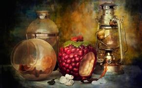 Картинка лампа, улитки, чайник, натюрморт