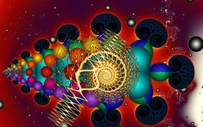 Обои цвет, фрактал, форма, абстракция