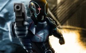 Картинка оружие, арт, фон, шлем, огонь, броня, фантастика, пистолет