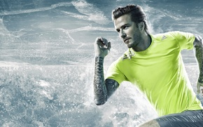 Картинка лед, вода, скорость, бег, прическа, ice, легенда, татуировки, футболист, Beckham
