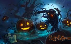 Картинка ночь, дерево, огонь, луна, монстр, шляпа, руки, когти, тыквы, зло, страшно, летучие мыши, хэллоуин, мрачно, …