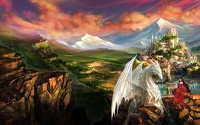 Картинка девушка, пейзаж, горы, город, замок, скалы, дракон, эльф, фэнтези, арт, эльфийка