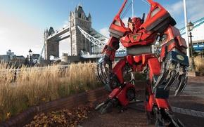 Обои мост, трансформеры, фантастика, робот, лондон, темза