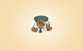 Обои минимализм, галстук, медведь, босс, кулак, злой, светлый фон, сидит, сигара, стул