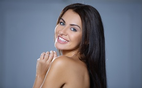 Обои sexy, smile, naked, brunette, woman