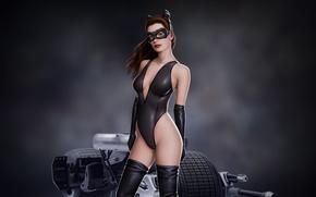Обои взгляд, batman, маска, арт, art, catwoman, anne hathaway