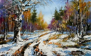 Картинка зима, дорога, осень, лес, снег, пейзаж, картина, весна, живопись, Ходюков, мастихин