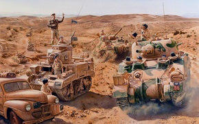 Картинка война, рисунок, солдаты, британцы, танки, m3 stuart, танкисты, M4 Sherman