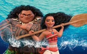 Обои Моана, Maui, Мауи, вода, Walt Disney Pictures, мультфильм, Moana, постер