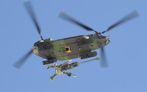 Картинка вертолёт, транспортный, гаубица, военно, 155-мм, доставка, CH-147 Chinook, M777 Howitzer
