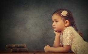 Картинка задумчивость, настроение, книги, девочка, розочка