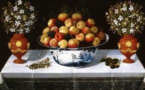 Картинка картина, Томас Хепес, Натюрморт с Фруктами и Цветами в Вазах