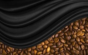 Обои зерна, кофе, шелк, черный