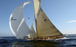 Картинка ветер, яхта, паруса, волнение, первенство