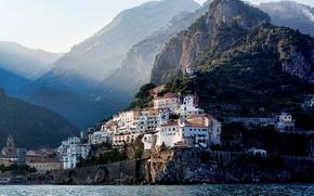 Картинка горы, город, побережье, Италия, Равелло
