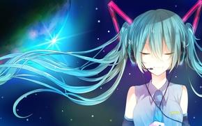 Картинка девушка, аниме, наушники, арт, микрофон, vocaloid, hatsune miku, miyanishi tsuki
