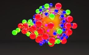Обои шарики, полосы, цветные, шар, тёмный фон