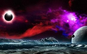 Картинка космос, звезды, поверхность, туманность, вселенная, планеты, небула