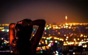 Обои девушка, ночь, город, lights, огни, восток, night, Иран, Iran, ближний восток, Тегеран, Tehran