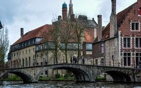 Картинка мост, здания, канал, Бельгия, bridge, Belgium, Брюгге, Brugge, canal, Bruges