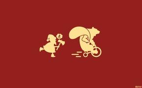 Обои Красный, Минимализм, Дизайн, Желтый, Череп, Юмор, Новый Год, Скорость, Топор, Медведь, Погоня, Велосипед, Животные, Дед ...