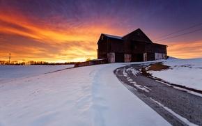 Картинка зима, дорога, небо, снег, пейзаж, закат, природа, дом