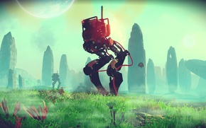 Картинка space, rock, grass, robot, rocks, planet, robots, laser, nms, no mans sky